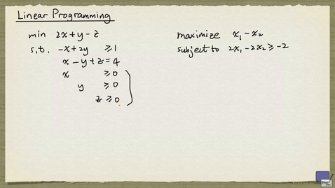 Thumbnail for entry 1 - Linear Programming Basics