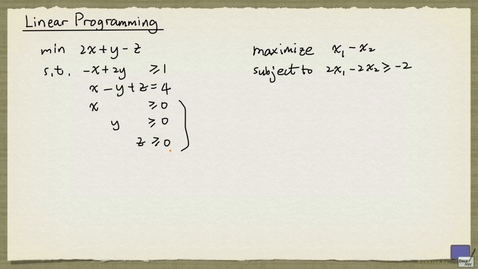 Thumbnail for entry 1 - Linear Programming Basics