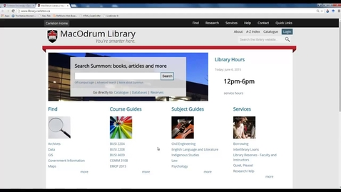 Thumbnail for entry Carleton University Library Using Summon and Subject Guides