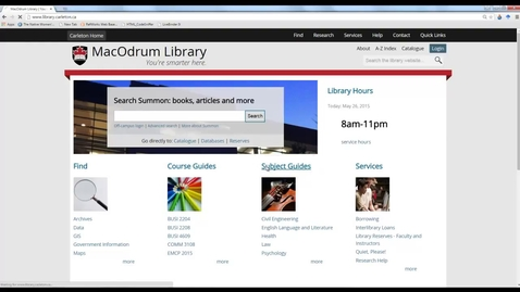 Thumbnail for entry Carleton University Library Using CBCA Complete