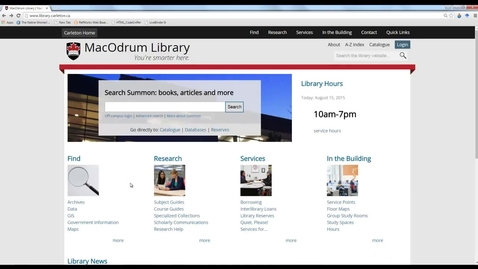 Thumbnail for entry Carleton University Library Changes to the library homepage