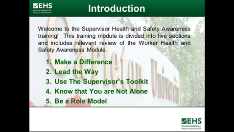 Thumbnail for entry Supervisor Health and Safety Awareness Training