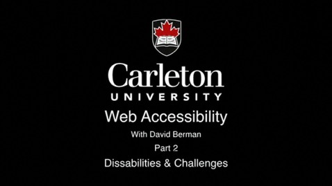 Thumbnail for entry 2. Disabilities and Challenges