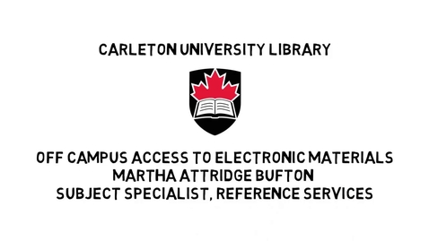 Thumbnail for entry Carleton University Library Off Campus Access