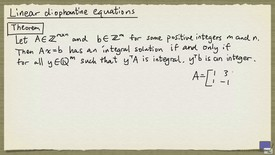 Thumbnail for entry 4 - Linear diophantine equations
