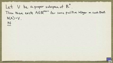 Thumbnail for entry 3 - Subspace of R^n as nullspace