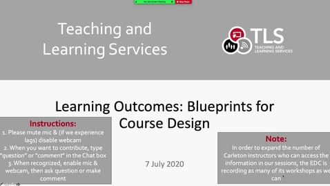 Thumbnail for entry Learning Outcomes as Blueprints for Course Design