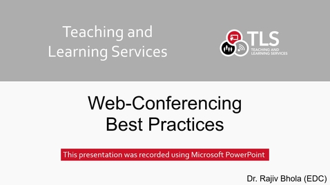 Thumbnail for entry Web-Conferencing Best Practices