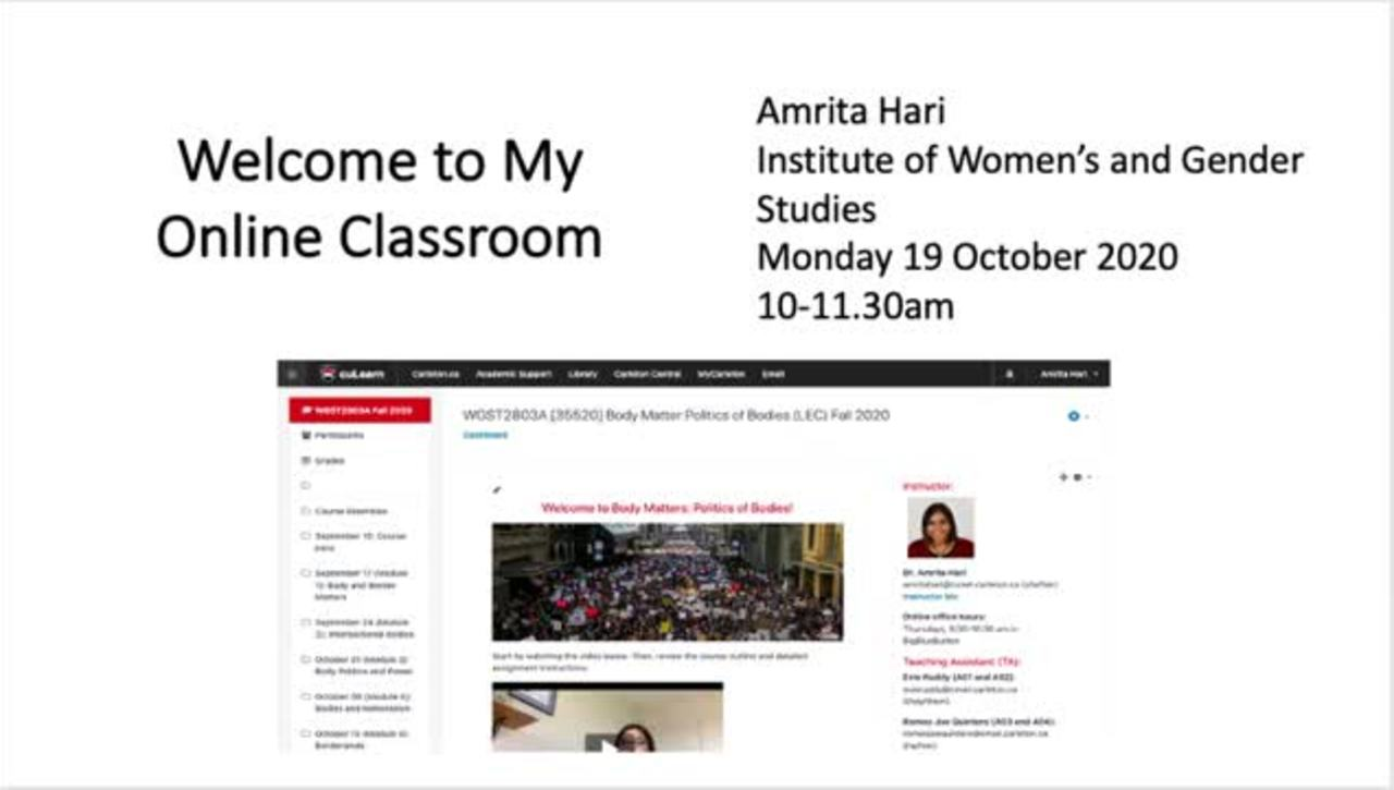 Welcome to My Online Classroom – Amrita Hari