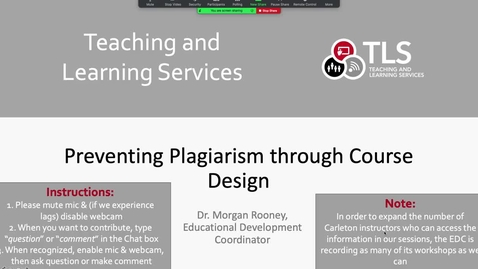 Thumbnail for entry Preventing Plagiarism through Course Design