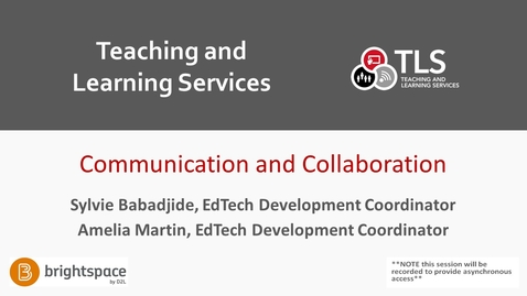 Thumbnail for entry Brightspace Communication and Collaboration Training