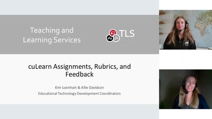 cuLearn Assignments, Rubrics, and Feedback