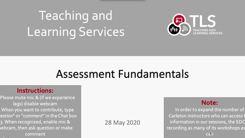 Thumbnail for entry Assessment Fundamentals
