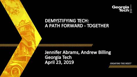 Thumbnail for entry Jennifer Abrams, Andrew Billing - Demystifying Tech: A Path Forward - Together