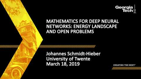 Thumbnail for entry Johannes Schmidt-Hieber - Mathematics for Deep Neural Networks: Energy landscape and open problems (Lecture 5/5)