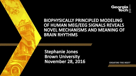 Thumbnail for entry Biophysically Principled Modeling of Human MEG/EEG Signals Reveals Novel Mechanisms and Meaning of Brain Rhythms - Stephanie Jones