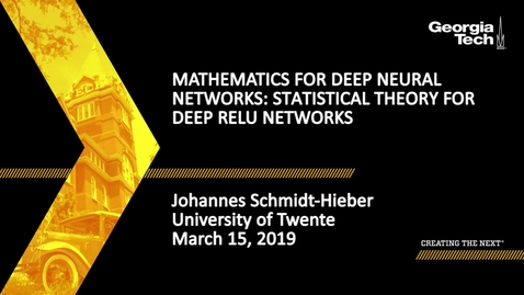 Thumbnail for entry Johannes Schmidt-Hieber - Mathematics for Deep Neural Networks: Statistical theory for deep ReLU networks (Lecture 4/5)