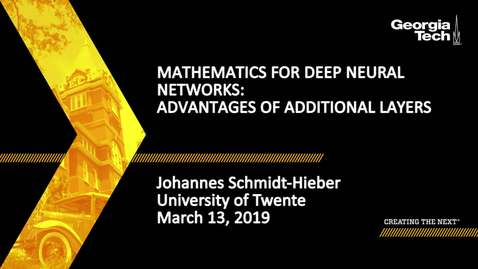 Thumbnail for entry Johannes Schmidt-Hieber - Mathematics for Deep Neural Networks: Advantages of Additional Layers  (Lecture 3/5)