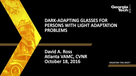 Thumbnail for entry Dark-Adapting Glasses for Persons with Light Adaptation Problems - David A. Ross