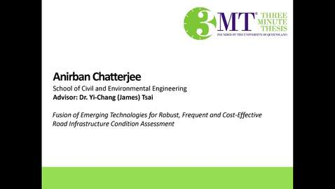 Thumbnail for entry Anirban Chatterjee - Fusion of Emerging Technologies for Robust, Frequent and Cost-Effective Road Infrastructure Condition Assessment