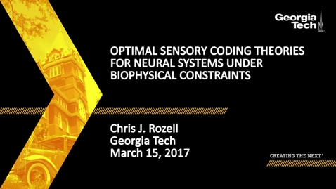 Thumbnail for entry Optimal sensory coding theories for neural systems under biophysical constraints - Chris J. Rozell