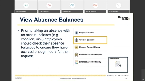 Thumbnail for entry Introduction To Employee Self Service -- Leave in ESS: Absence Balances