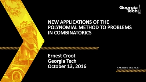 Thumbnail for entry New Applications of the Polynomial Method to Problems in Combinatorics - Ernest Croot