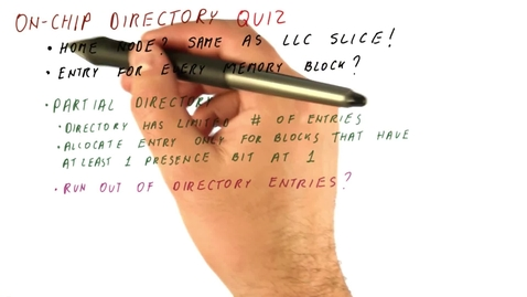 Thumbnail for entry CS6290_Many Core_On Chip Directory Quiz_QUES