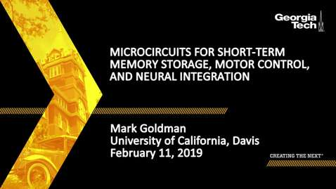 Thumbnail for entry Mark Goldman - Microcircuits for Short-term Memory Storage, Motor Control, and Neural Integration
