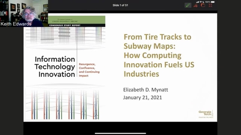 Thumbnail for entry Elizabeth D. Mynatt - From Tire Tracks to Subway Maps: How Computing Innovation Fuels US Industries