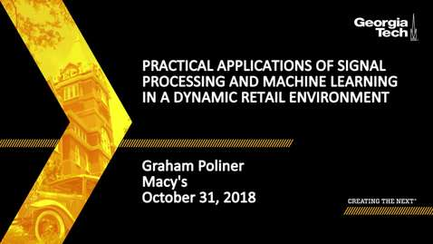 Thumbnail for entry Graham Poliner - Practical Applications of Signal Processing and Machine Learning in a Dynamic Retail Environment