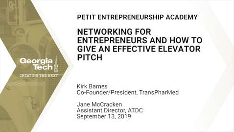 Thumbnail for entry Petit Entrepreneurship Academy - Networking for Entrepreneurs and How to Give an Effective Elevator Pitch