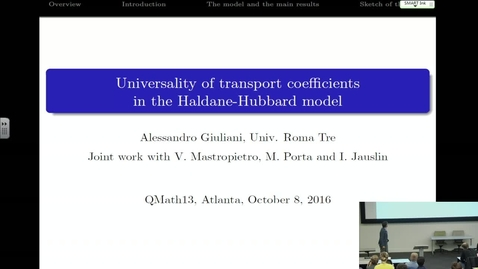 Thumbnail for entry Universality of transport coefficients in the HaldaneHubbard model - Alessandro Giuliani