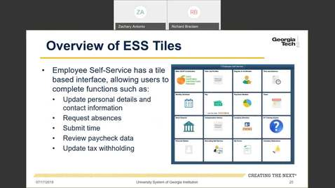Thumbnail for entry Introduction to Employee Self-Service and Faculty Self-Service-- ESS Tiles Overview