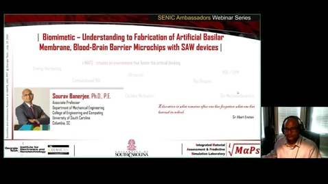 Thumbnail for entry Sourav Banerjee - Biomimetic Understanding to Fabrication of Artificial Basilar Membrane, Blood-Brain Barrier Microchip, and SAW devices