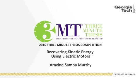 Thumbnail for entry Recovering Kinetic Energy Using Electric Motors - Aravind Samba Murthy