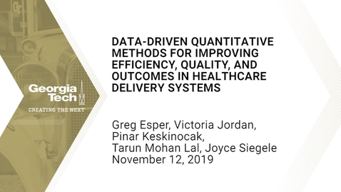 Thumbnail for entry Data-driven quantitative methods for improving efficiency, quality, and outcomes in healthcare delivery systems