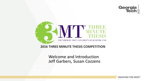 Thumbnail for entry Welcome and Introduction - Jeff Garbers, Susan Cozzens