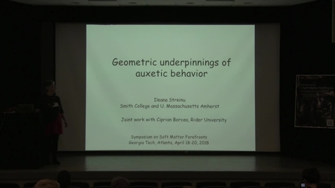 Thumbnail for entry Geometric underpinnings of auxetic behavior - Ileana Streinu
