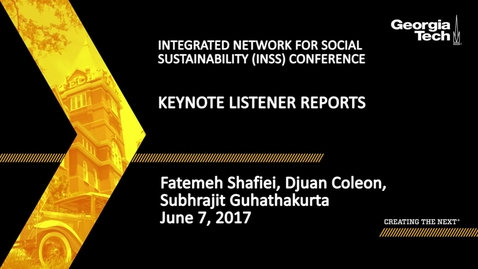 Thumbnail for entry Keynote Listener Reports - Fatemeh Shafiei, Djuan Coleon, Subhrajit Guhathakurta