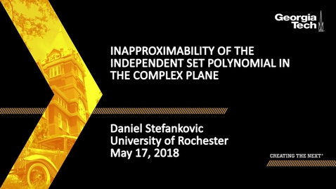 Thumbnail for entry Inapproximability of the Independent Set Polynomial in the Complex Plane - Daniel Stefankovic