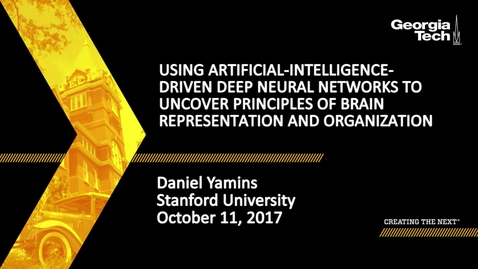 Thumbnail for entry Using Artificial-Intelligence-Driven Deep Neural Networks to Uncover Principles of Brain Representation and Organization - Daniel Yamins