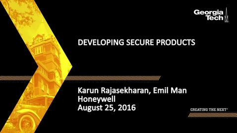 Thumbnail for entry Karun Rajasekharan and Emil Man - Developing Secure Products