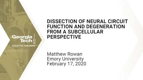 Thumbnail for entry Matthew Rowan - Dissection of Neural Circuit Function and Degeneration from a Subcellular Perspective