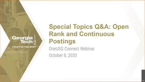 Thumbnail for entry Special Topics Q &A: Open Ranks and Continuous Posting 10/08/2020