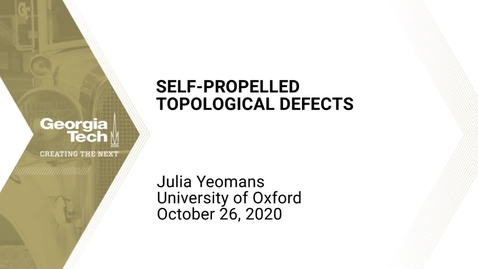 Thumbnail for entry Julia Yeomans - Self-propelled topological defects