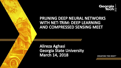 Thumbnail for entry Pruning Deep Neural Networks with Net-Trim: Deep Learning and Compressed Sensing Meet - Alireza Aghasi