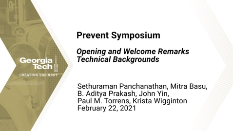 Thumbnail for entry Prevent Symposium - Opening and Welcome Remarks, Technical Backgrounds