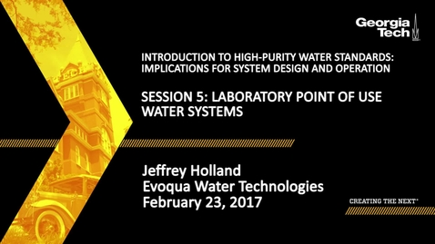 Thumbnail for entry Laboratory Point of Use Water Systems - Jeffrey Holland