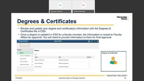 Thumbnail for entry Introduction to Employee Self-Service and Faculty Self-Service: ESS Tiles: Degrees & Certificates